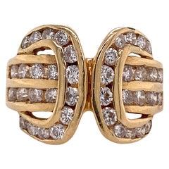 1970s Diamond Buckle 14 Karat Yellow Gold Vintage Ring Channel Set Diamonds