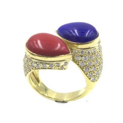 1970s Diamond Coral Lapis 18 Karat Yellow Gold Bypass Ring