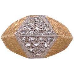 1970s Diamond Geometric 14 Karat Satin Finish Yellow Gold Ring