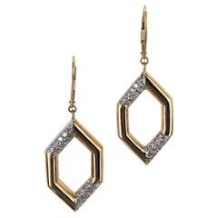 1970s Diamond Geometric 18 Karat Yellow Gold Dangle Earrings