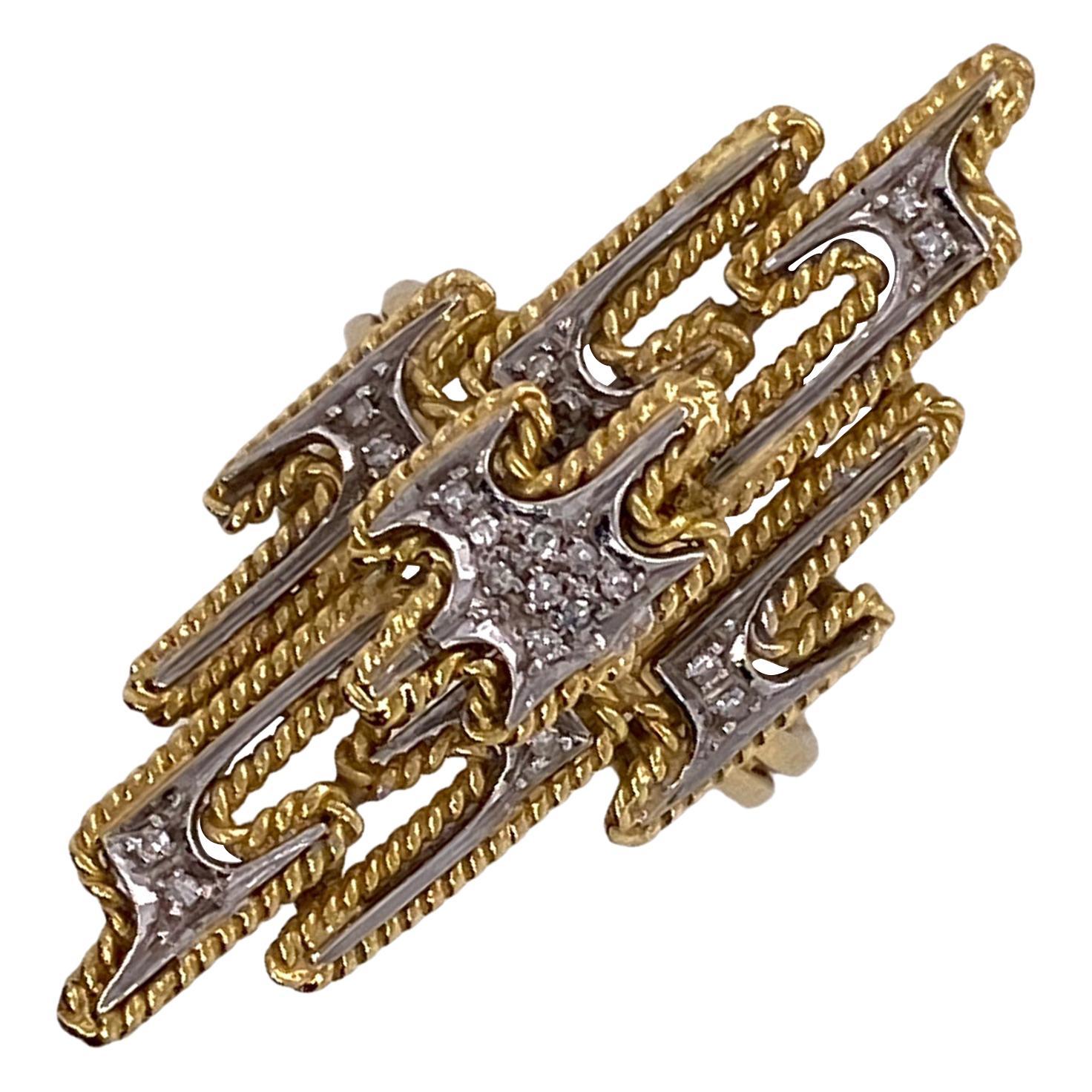 1970s Diamond Geometric Elongated 18 Karat Two-Tone Gold Vintage Ring
