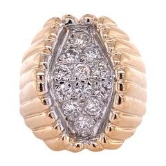 1970's Diamond Geometric Ribbed Yellow Gold Vintage Ring
