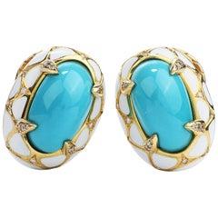 1970's Diamond GIA Turquoise 18k Gold Enamel Clip On Earrings