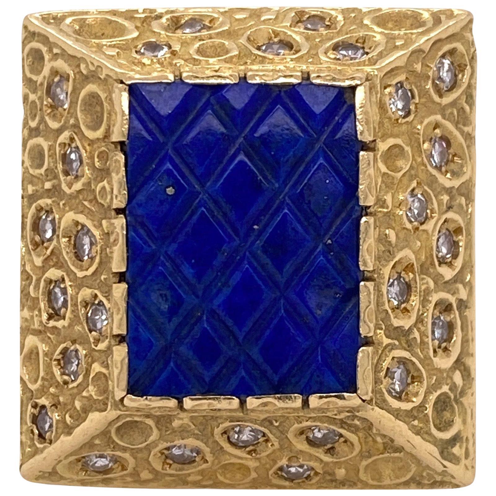 1970s Diamond Lapis Lazuli 18 Karat Yellow Gold Vintage Cocktail Ring