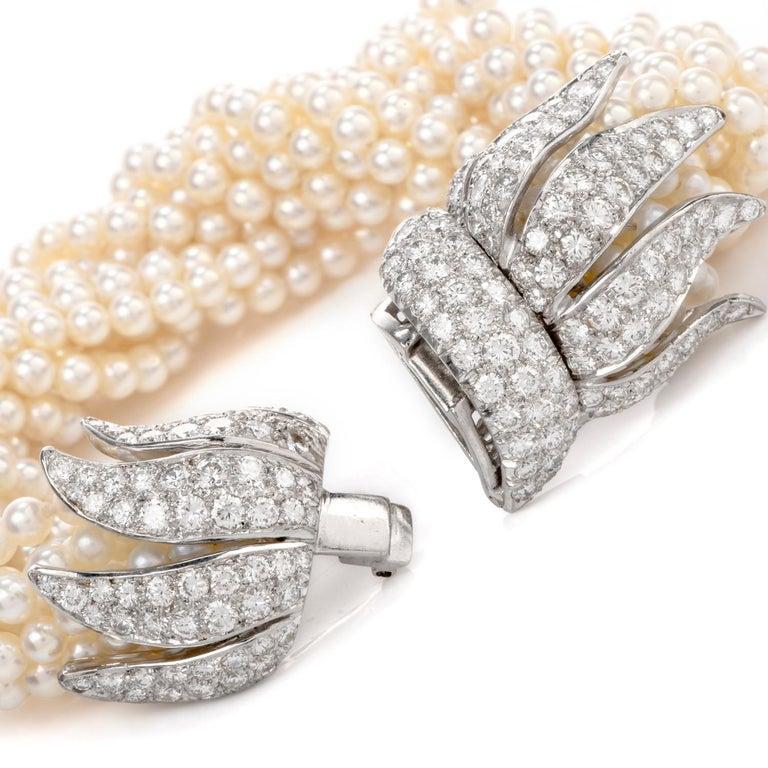 Baroque 1970s Diamond Pearl Platinum Peacock Bracelet