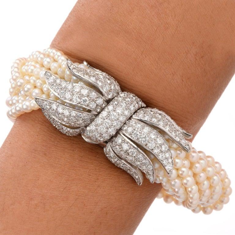 Women's 1970s Diamond Pearl Platinum Peacock Bracelet