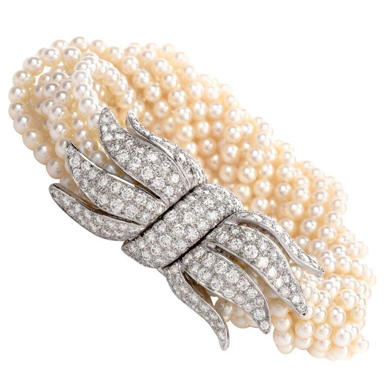 1970s Diamond Pearl Platinum Peacock Bracelet