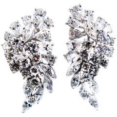 1970s Diamond Platinum Ear Clips
