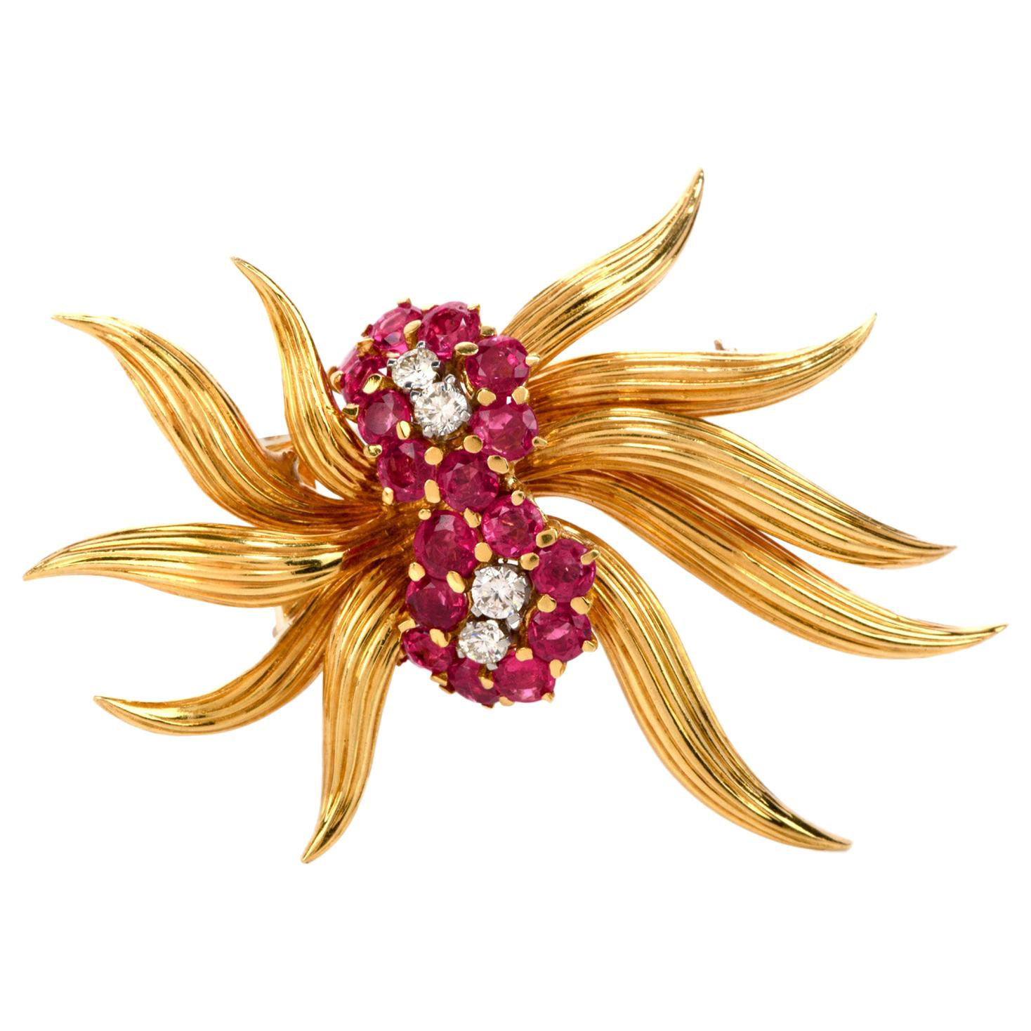 1970s Diamond Ruby 18 Karat Gold Flower Pin Brooch