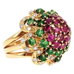 1970s Diamond Ruby and Emerald Dome Ring