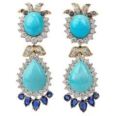 1970s Diamond Sapphire and Turquoise 18 Karat Gold Drop Dangle Earrings