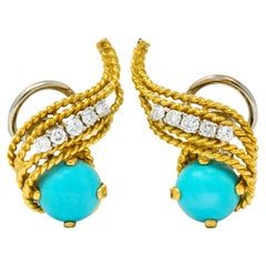 1970s Diamond Turquoise 18 Karat Gold Ear-Clip Earrings