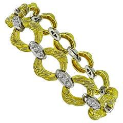 1970s Diamond Two-Tone Gold Bracelet