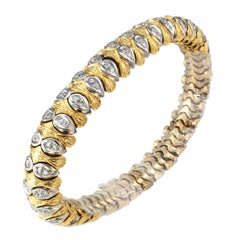 1970s Diamond Two-Tone Gold Bracelet