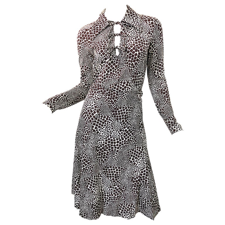 1970s Diane Von Furstenberg Brown and White Rayon Cotton Cut Out Top Skirt Dress For Sale