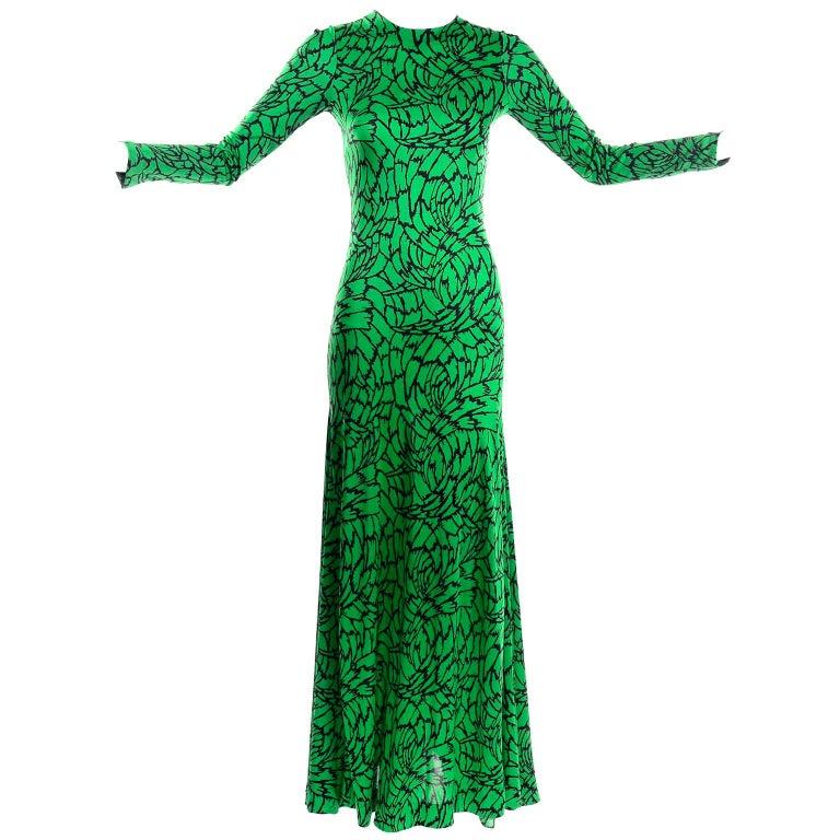 1970s Diane Von Furstenberg Vintage Green & Black Stretch Jersey Maxi Dress 6