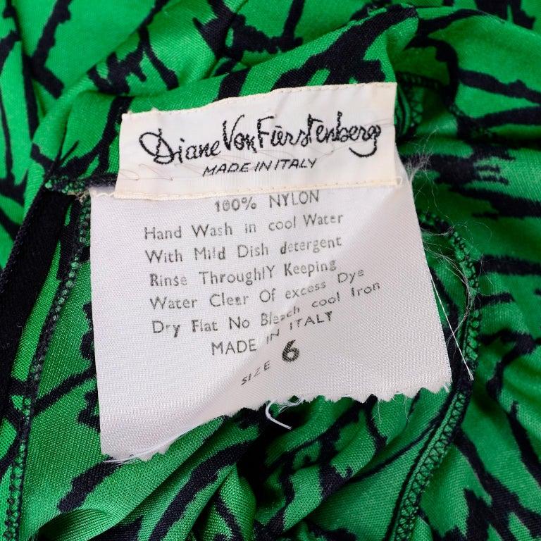 1970s Diane Von Furstenberg Vintage Green & Black Stretch Jersey Maxi Dress 7
