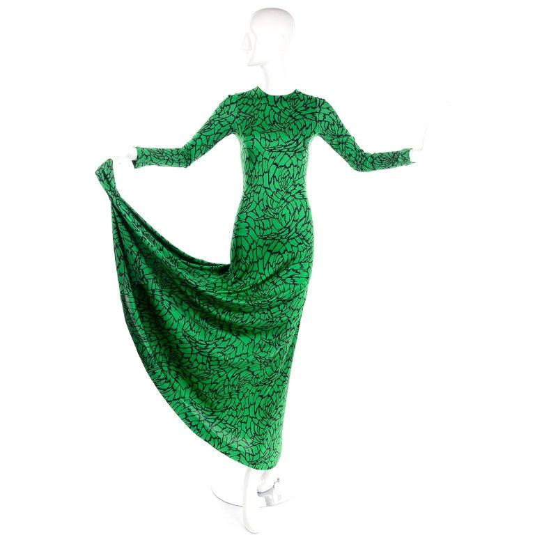 Blue 1970s Diane Von Furstenberg Vintage Green & Black Stretch Jersey Maxi Dress