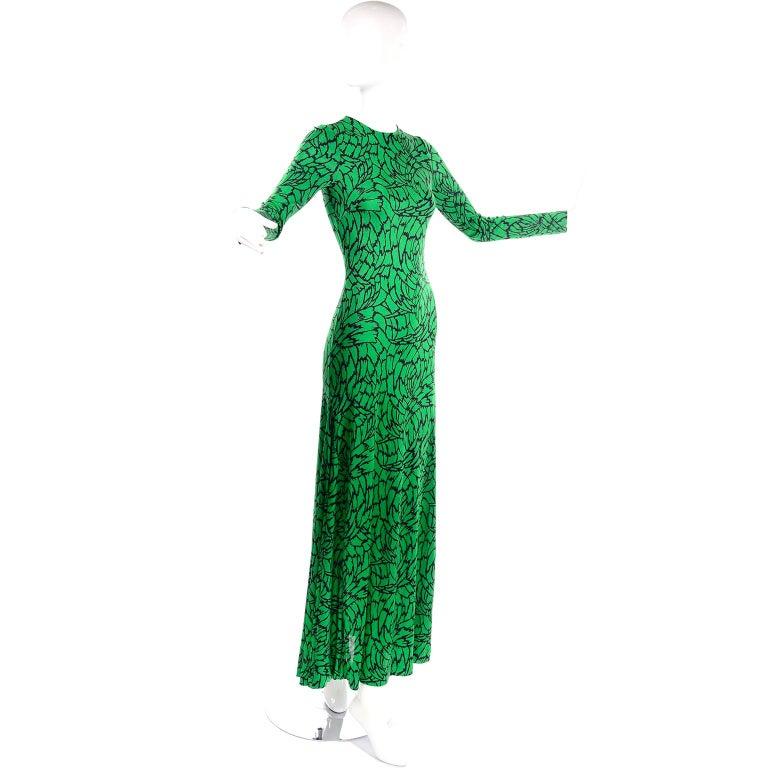 1970s Diane Von Furstenberg Vintage Green & Black Stretch Jersey Maxi Dress In Excellent Condition In Portland, OR