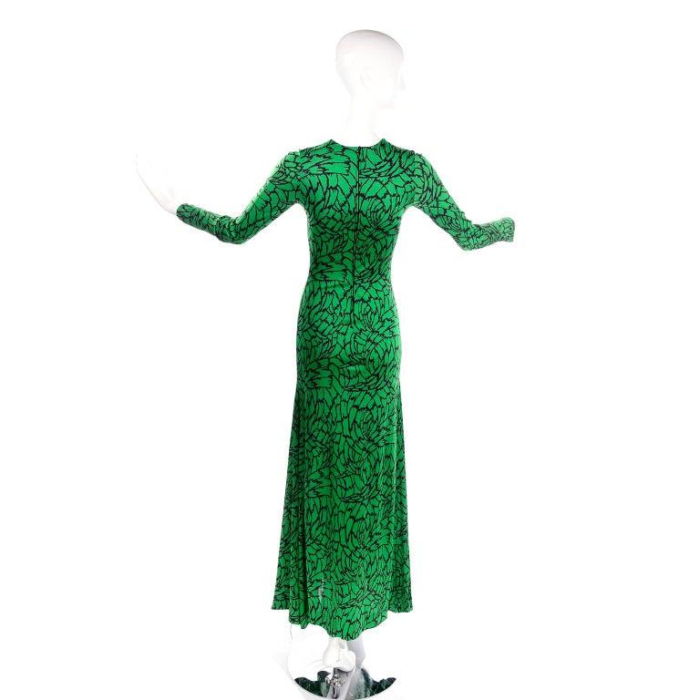1970s Diane Von Furstenberg Vintage Green & Black Stretch Jersey Maxi Dress 1