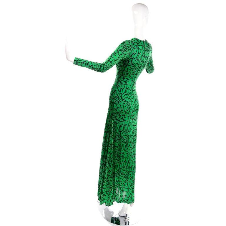 1970s Diane Von Furstenberg Vintage Green & Black Stretch Jersey Maxi Dress 2