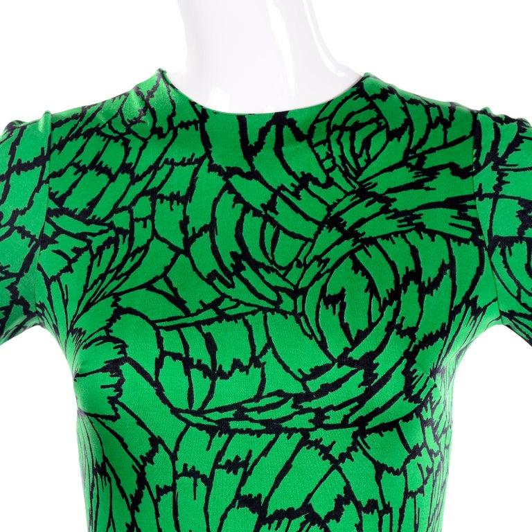 1970s Diane Von Furstenberg Vintage Green & Black Stretch Jersey Maxi Dress 4