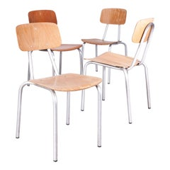 1970s Dining Chairs with Rare Aluminum Frames, Set of Four