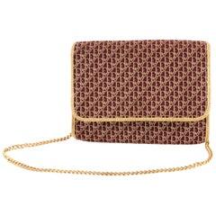 1970s Dior Bordeaux Oblique Monogram and Gold Lurex Canvas Logo Shoulder Bag