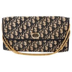1970s Dior Navy Oblique Monogram Logo Shoulder Bag