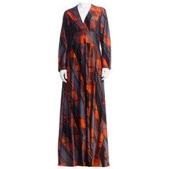 1970'S Geometric Printed Polyester Jersey Disco Long Sleeve Maxi Dress