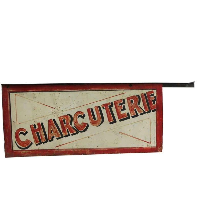 "1970s Distressed French ""Charcuterie"" or ""Delicatessen"" Double-Sided Sign For Sale"