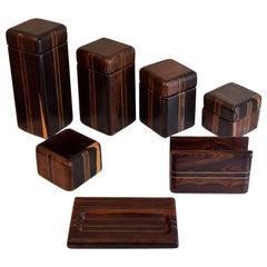 1970s Don Shoemaker Tropical Wood Complete Desk Set Perfect Condition
