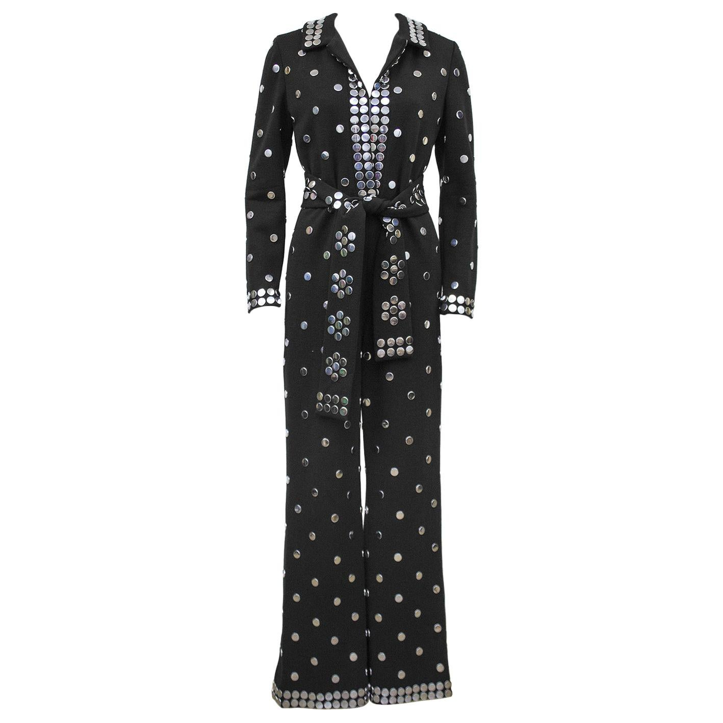 1970s Donald Brooks Black Jersey Belted Jumpsuit with Silver Studs