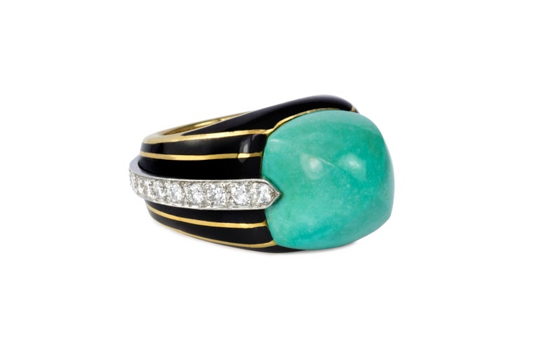 A turquoise, diamond, enamel and 18 karat gold ring, by Donald Claflin for Tiffany & Co., 1970s.  This ring is a size 5.5 and stamped Tiffany & Co for Donald Claflin, 18k.   Donald Claflin was one of Tiffany's most innovative designers, creating