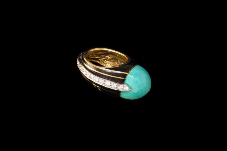 Modern 1970s Donald Claflin for Tiffany & Co. Turquoise, Diamond, Enamel and Gold Ring For Sale