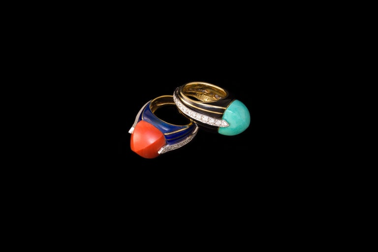 1970s Donald Claflin for Tiffany & Co. Turquoise, Diamond, Enamel and Gold Ring In Excellent Condition For Sale In New York, NY