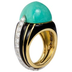 1970s Donald Claflin for Tiffany & Co. Turquoise, Diamond, Enamel and Gold Ring
