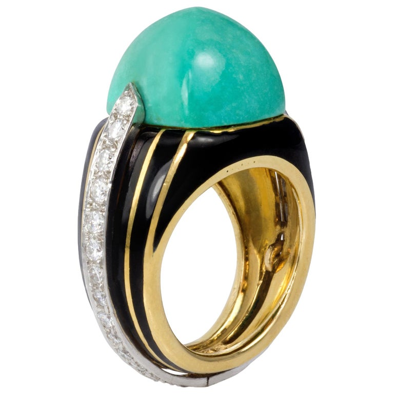 1970s Donald Claflin for Tiffany & Co. Turquoise, Diamond, Enamel and Gold Ring For Sale