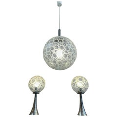 1970s Doria Globe Hanging Light and Pair of Table Lamps