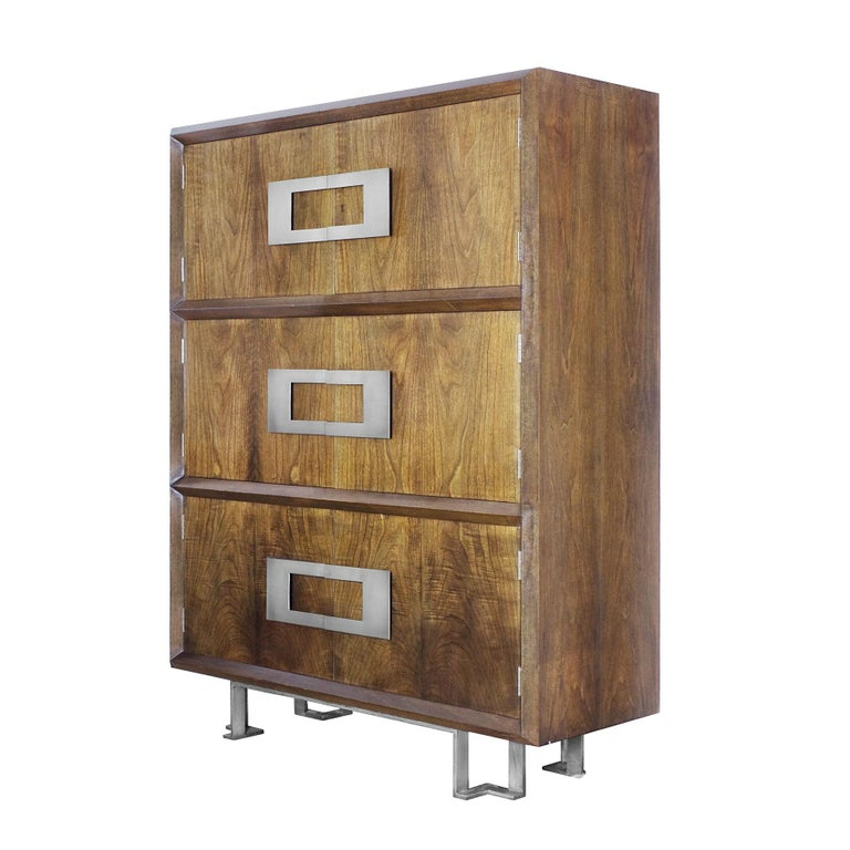 Important dry bar with six doors, stained and French polished walnut veneer. Red lacquer inside with small sliding tray and four drawers. Nickel plated solid brass handles and feet. Design: Jordi Vilanova  Spain, Barcelona, circa 1970.