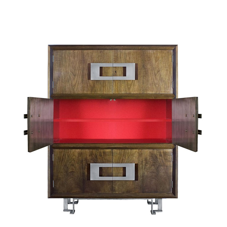 1970s Dry Bar by Jordi Vilanova, Six Doors, Walnut, Lacquer, Brass, Barcelona In Good Condition For Sale In Girona, ES