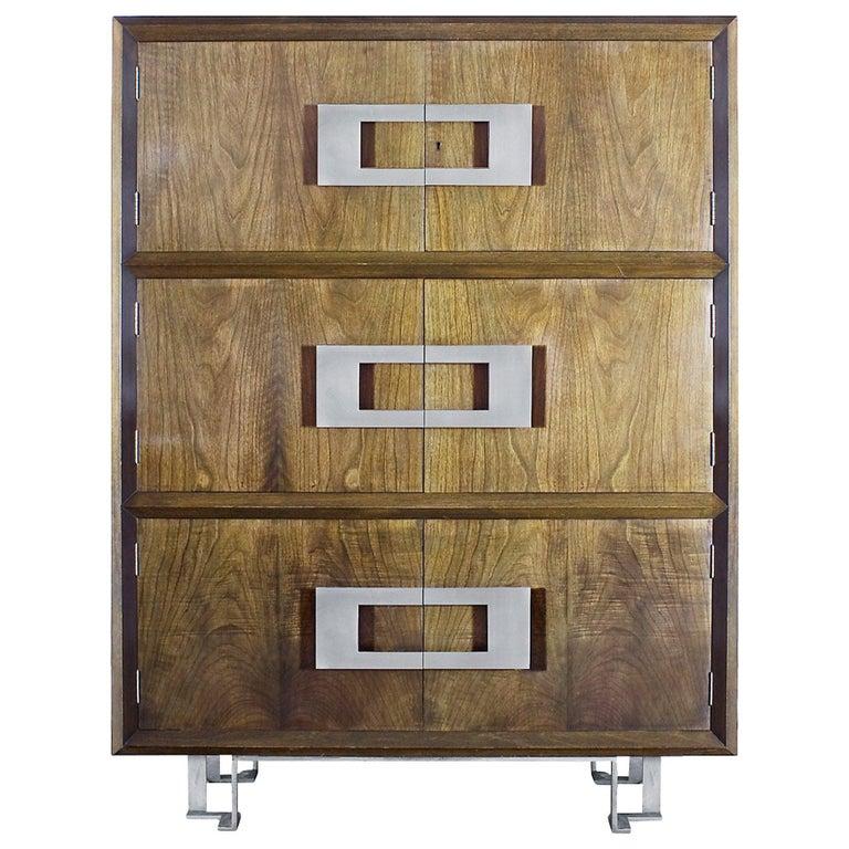 1970s Dry Bar by Jordi Vilanova, Six Doors, Walnut, Lacquer, Brass, Barcelona For Sale