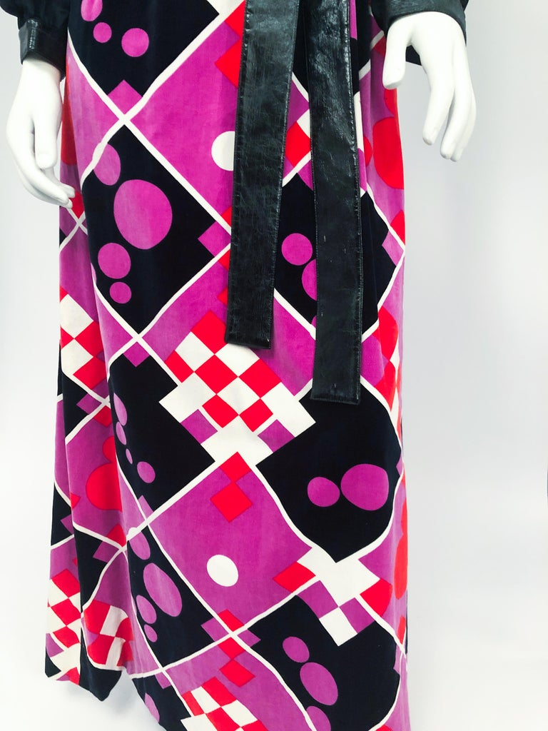 Women's 1970s Dynasty Dress with Printed Velvet For Sale