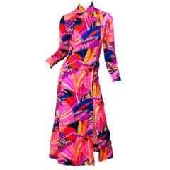 1970s Dynasty for I Magnin Psychedelic Vintage 70s Silk Cheongsam Maxi Dress