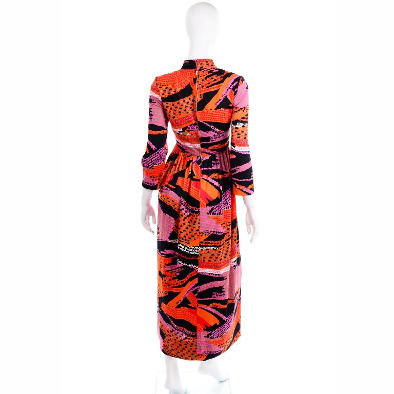 1970s Dynasty Vintage Maxi Dress in Mod Red Orange Pink & Black Abstract Print  2