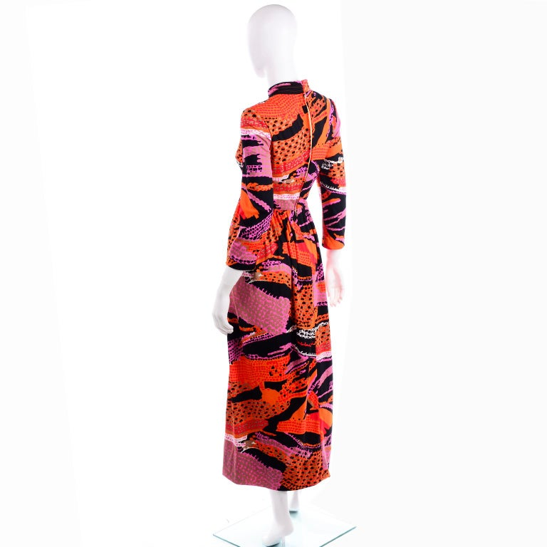1970s Dynasty Vintage Maxi Dress in Mod Red Orange Pink & Black Abstract Print  3