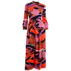 1970s Dynasty Vintage Maxi Dress in Mod Red Orange Pink & Black Abstract Print