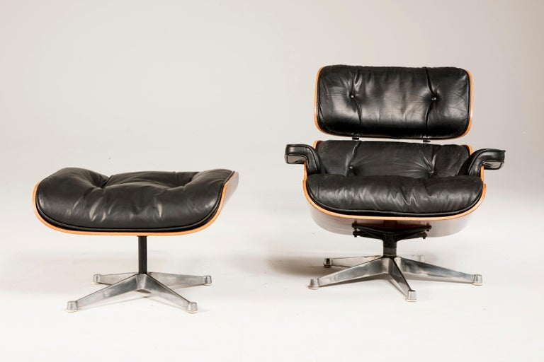 1970s Eames 670 Lounge Chair and 671 Ottoman Black Leather by ICF For Sale 7