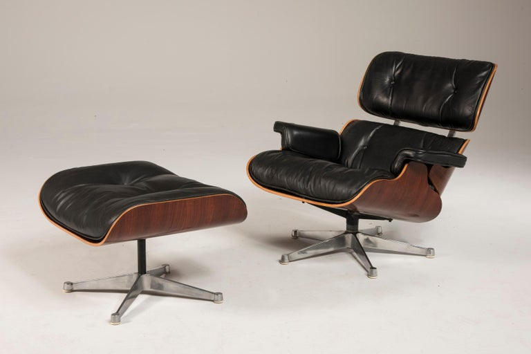 Modern 1970s Eames 670 Lounge Chair and 671 Ottoman Black Leather by ICF For Sale