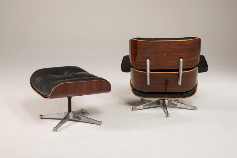 20th Century 1970s Eames 670 Lounge Chair and 671 Ottoman Black Leather by ICF For Sale